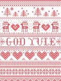 在挪威上帝Yule无缝的样式的圣诞节样式圣诞快乐在北欧在stitc的文化欢乐冬天之前启发了 向量例证