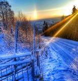 在挪威的山的冷的天 免版税库存图片