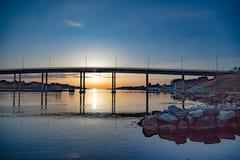 在挪威的西海岸的美好的日落 库存图片