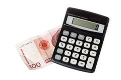 在挪威票据的计算器 免版税库存图片