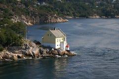 在挪威附近的卑尔根灯塔 库存图片