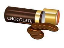 在挺直圆筒管的巧克力饼干 免版税图库摄影