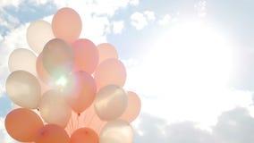 在捆绑的桃红色气球 股票录像