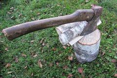 在捆绑的老轴木柴旁边 免版税库存照片