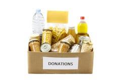 在捐赠箱子的食物 免版税库存照片