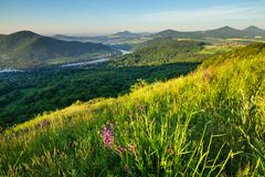 在捷克中央山的早晨 库存图片