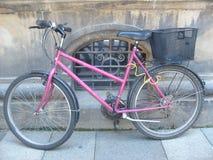 在捷克停放的桃红色自行车 免版税库存图片