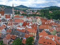 在捷克克鲁姆洛夫古城的看法 免版税库存照片