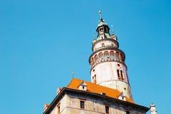 在捷克克鲁姆洛夫的城堡塔,捷克语 免版税图库摄影