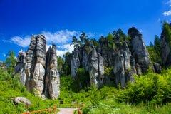 在捷克共和国的岩石 免版税图库摄影