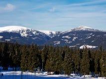 在捷克共和国的最大的山 库存照片