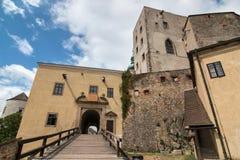 在捷克共和国的老哥特式城堡Buchlov 库存照片