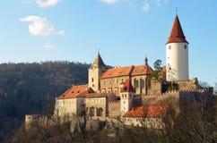 在捷克共和国的著名欧洲城堡Krivoklat 免版税库存照片