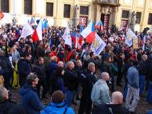 在捷克抗议agains移民布拉格的首府 库存图片
