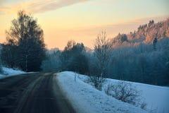 在捷克的山的日出 库存图片