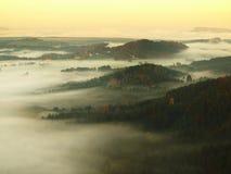 在捷克萨克森瑞士的一座美丽的山的日出 库存照片