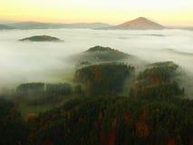 在捷克萨克森瑞士的一座美丽的山的日出 免版税库存照片