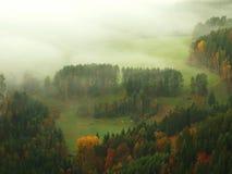 在捷克萨克森瑞士的一座美丽的山的日出 免版税图库摄影