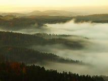 在捷克萨克森瑞士的一座美丽的山的日出 免版税库存图片