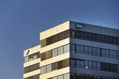 在捷克总部的SAP多民族软件公司商标 免版税图库摄影
