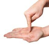 在掌上型计算机指向里面的手指现有&# 免版税库存照片