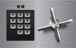 在掠过的金属背景的现实安全锁金属元素 不锈钢轮子 传染媒介象或设计元素 键盘按钮 皇族释放例证