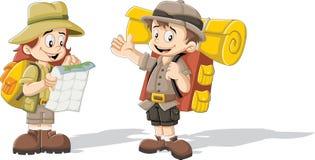 在探险家成套装备的动画片孩子 皇族释放例证