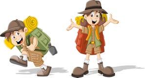 在探险家成套装备的孩子 皇族释放例证