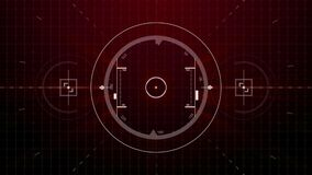 在接口或自动驾驶操纵传感器屏幕有数字的, s上的红色警戒行动图表雷达目标锁的无缝的模仿 皇族释放例证
