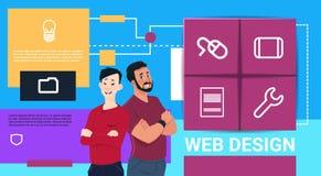在接口象网站想法信息概念拷贝空间的网络设计技术介绍双人混合种族 向量例证