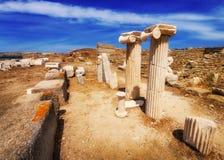 在提洛岛海岛上的古老废墟  库存图片