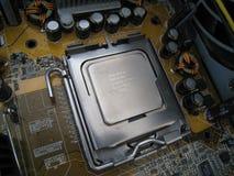 在插口关闭视图的中央处理器单元 库存照片