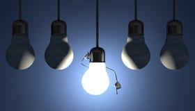 在插口,洞察的片刻的电灯泡在蓝色的 库存照片