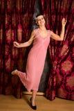 在插板礼服的查尔斯顿跳舞 库存图片
