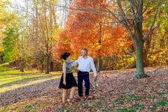 在握手和走通过一个公园的爱的年轻夫妇在晴朗的秋天天 库存照片