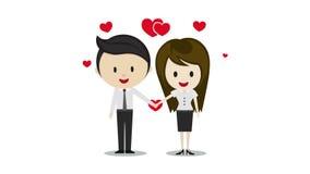 在握手,漫画人物的爱的逗人喜爱的夫妇 向量例证