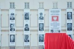 在揭幕之前纪念碑仪式一次飞机失事的受害者在斯摩棱斯克附近的 库存图片