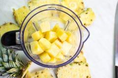 在搅拌器的菠萝切片 库存图片