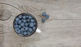 在搪瓷杯子的蓝莓 库存图片