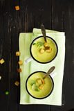 在搪瓷杯子的绿色gazpacho汤 库存照片
