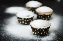 在搽粉的糖的松饼 免版税库存图片