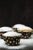 在搽粉的糖的松饼 免版税图库摄影