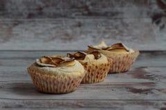 在搽粉的糖立场的三个甜蛋糕在轻的背景 图库摄影