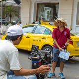 """在摄制""""Taxi期间,您的名字是什么?† 图库摄影"""