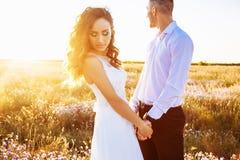 在摆在与完善的天空的日落的领域、恋人或者新婚佳偶的美好的夫妇 免版税图库摄影