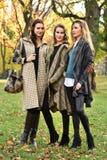 在摆在中央公园的秋天典雅的衣裳的三个美好的年轻模型 免版税库存照片