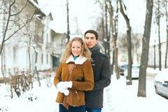 在摆在冷的冬天的爱的室外愉快的夫妇风化 免版税库存照片
