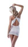 在摆在回到照相机的性感的礼服的亭亭玉立的模型 免版税库存图片