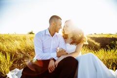 在摆在日落w的领域、恋人或者新婚佳偶的美好的夫妇 库存图片