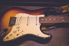 在摇滚乐音乐会的电子吉他 库存照片